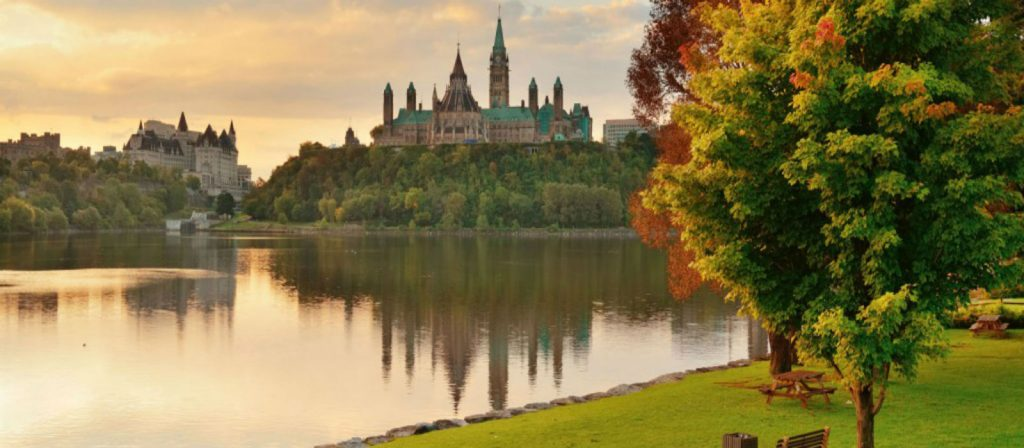 Photo of the back of parliament hill in the fall